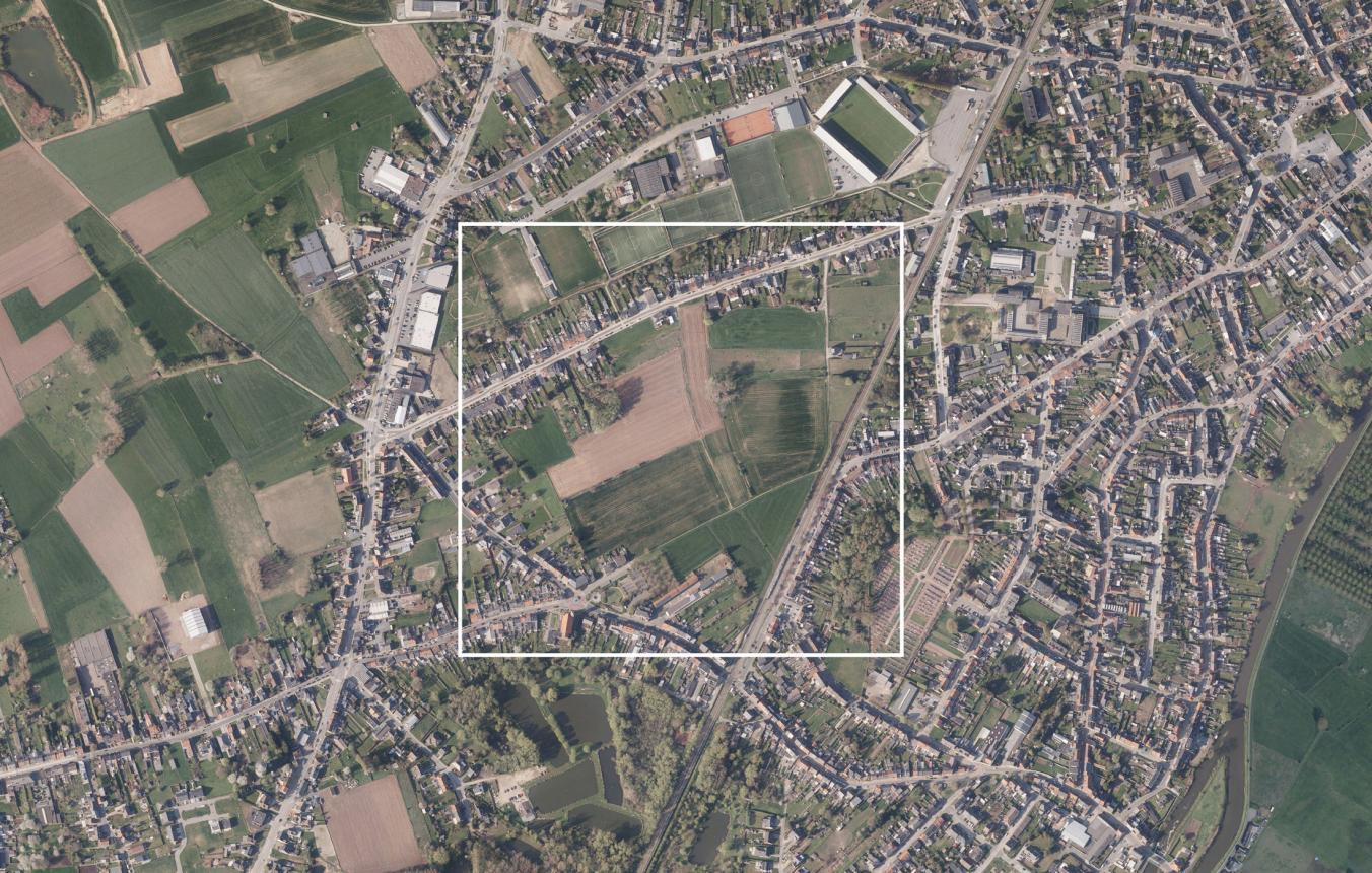 Luchtfoto projectgebied OO3905 Masterplan Wolfsgracht Denderleeuw