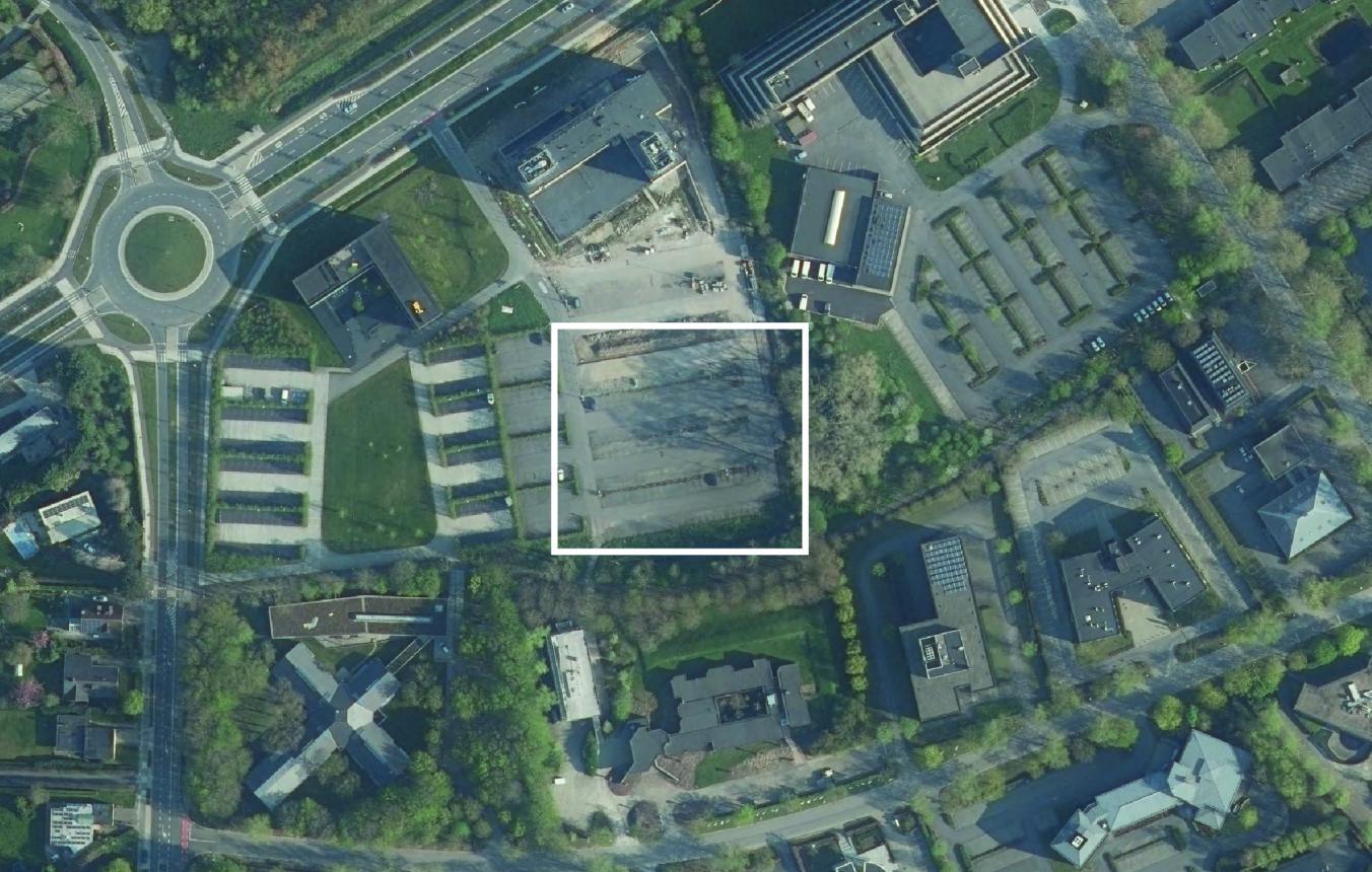 Luchtfoto projectsite OO3901 Nieuwe kantoren Leiedal Kortrijk