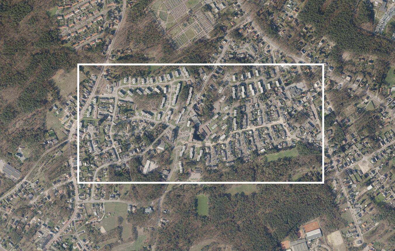 Luchtfoto projectsite OO3903 Wijk Kolderbos Genk