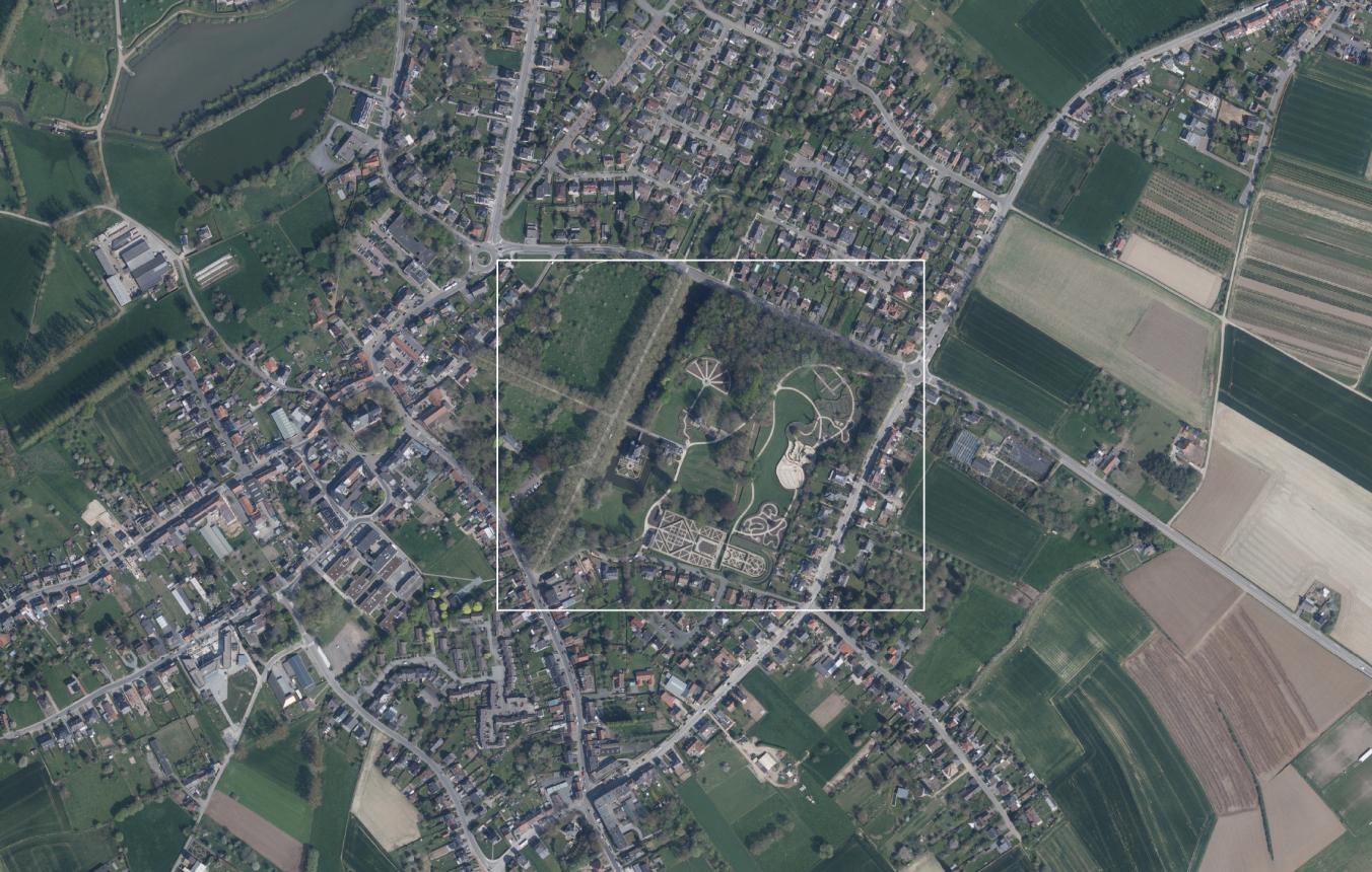 Luchtfoto projectsite OO4008 Sint-Pieters-Leeuw Coloma Rozentuin