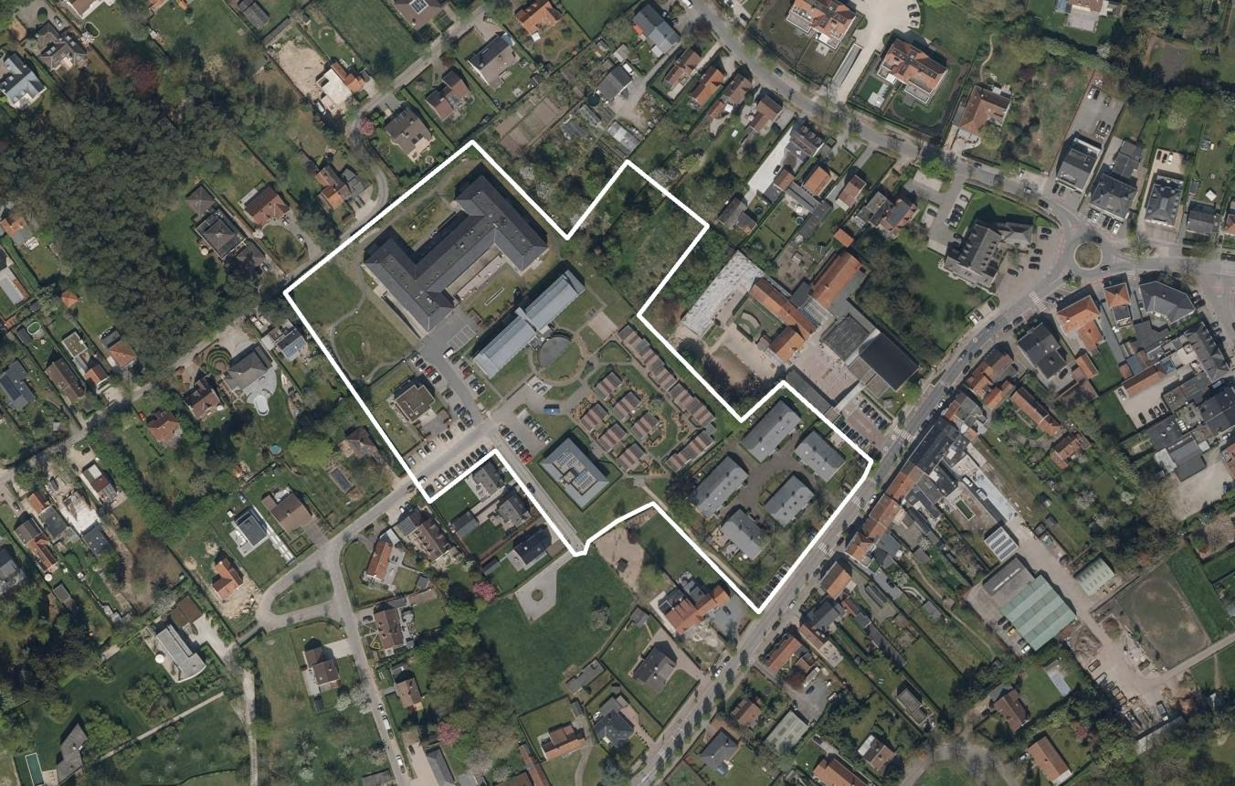 Luchtfoto masterplan site Priesterage Sint-Martens-Latem