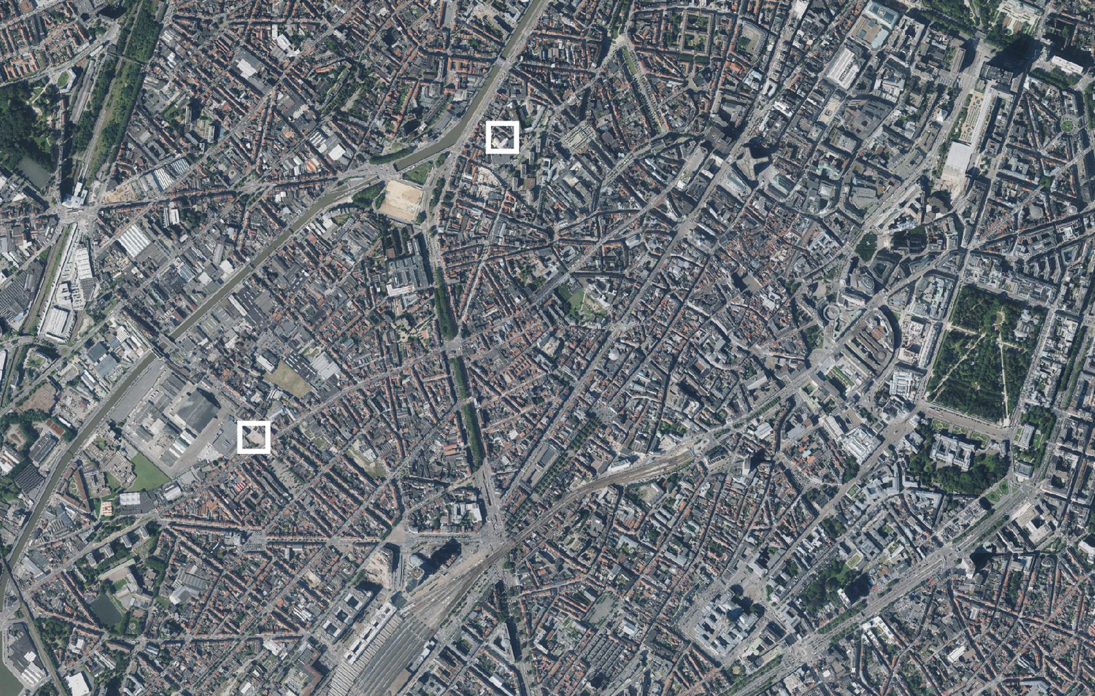 luchtfoto Brussel met locaties van de Pilootprojecten Studenten maken Stad