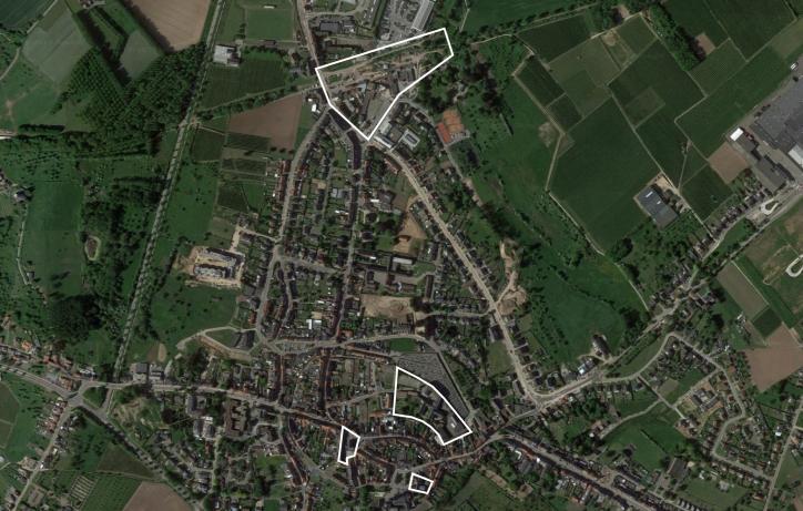 Luchtfoto Borgloon met sites voor de strategische ontwikkelingsvisie voor Borgloon
