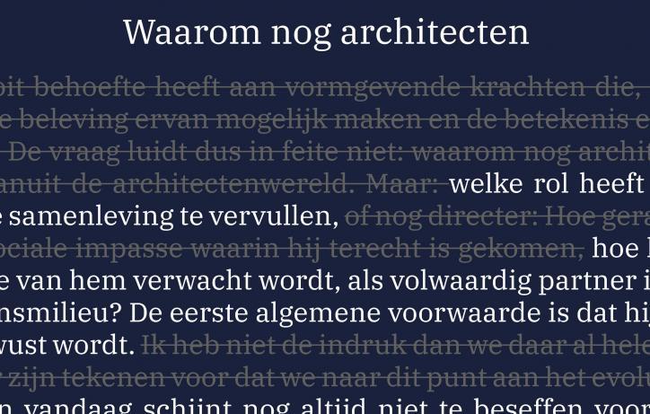 Lezing 'Waarom nog architecten'