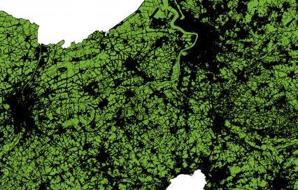 Kaart van het ruimtebeslag (landoppervlakte zonder landbouw, water en natuur) in de Vlaamse Ruit