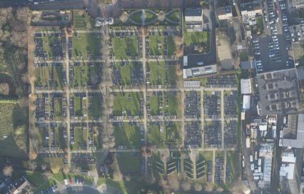 Luchtfoto begraafplaats Kontich